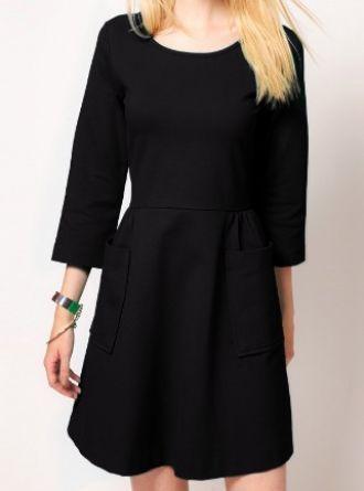 e46e0ca0a57 Black Round Neck Long Sleeve Pockets Embellished Dress