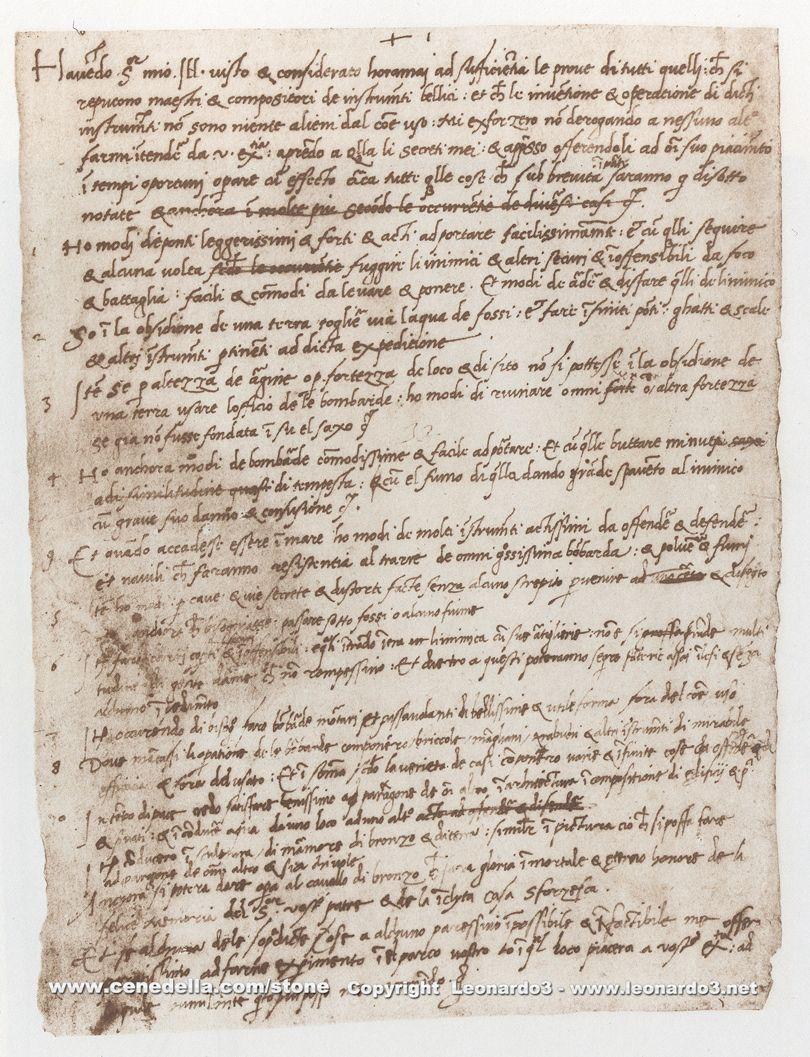 Leonardo da Vinci, world's first resume! His pictures