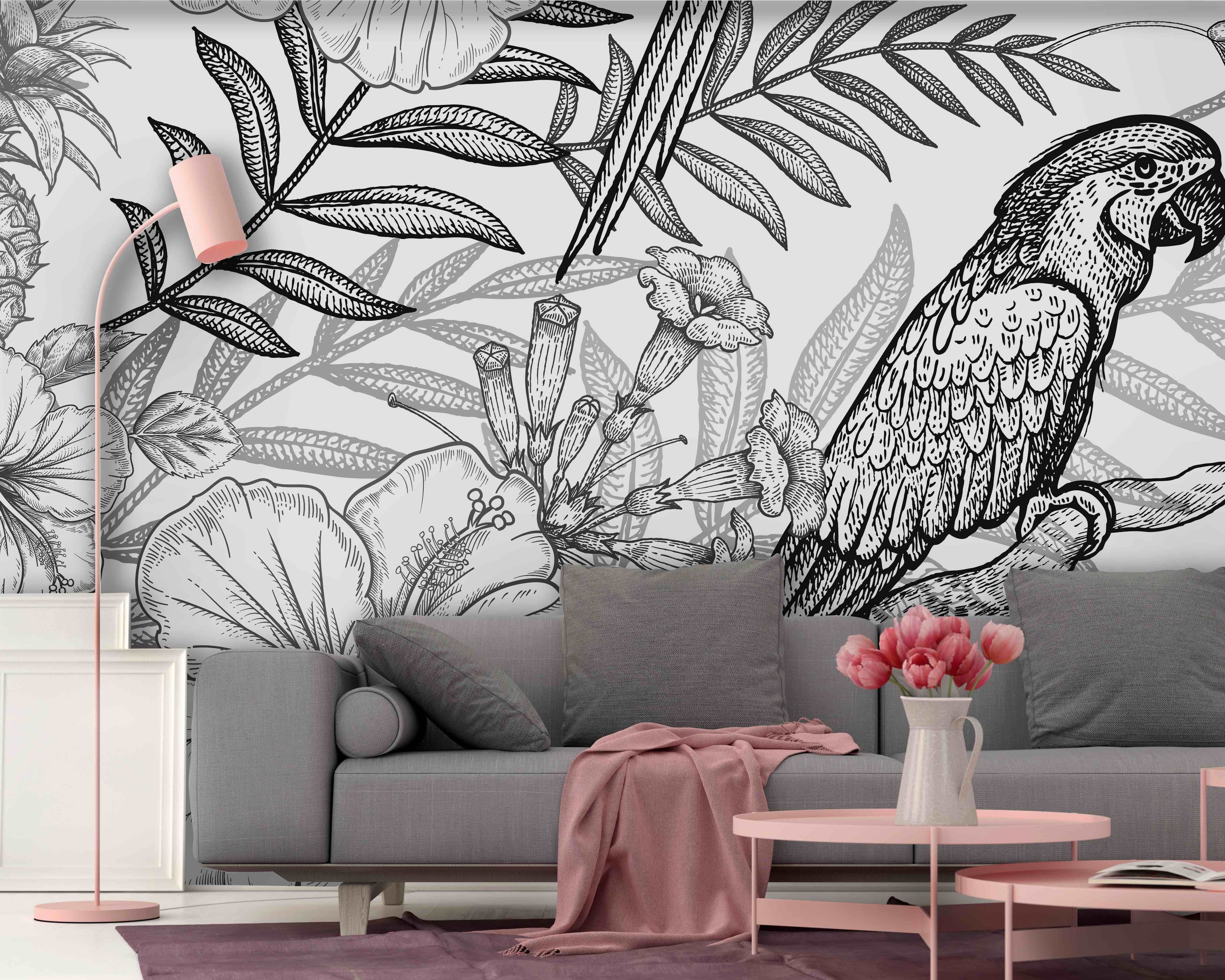Black And White Tropical Drawing Mural Shop Now At Walls4u