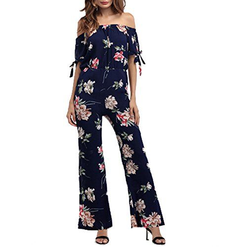 1b64cc77102 OGOUGUAN Floral Printed Jumpsuit Women Halter Short Sleeve Wide Long Pants  Jumpsuit Rompers