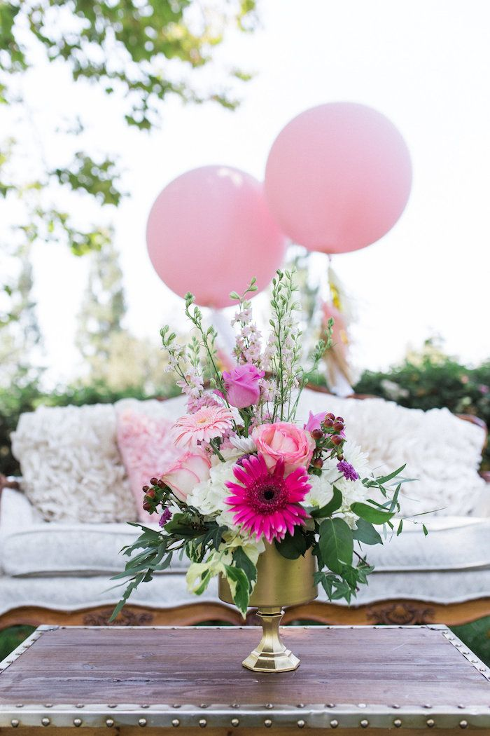Pink Florals And Balloons From Glamorous 70th Birthday Party At Karas Ideas See The Details Karaspartyideas