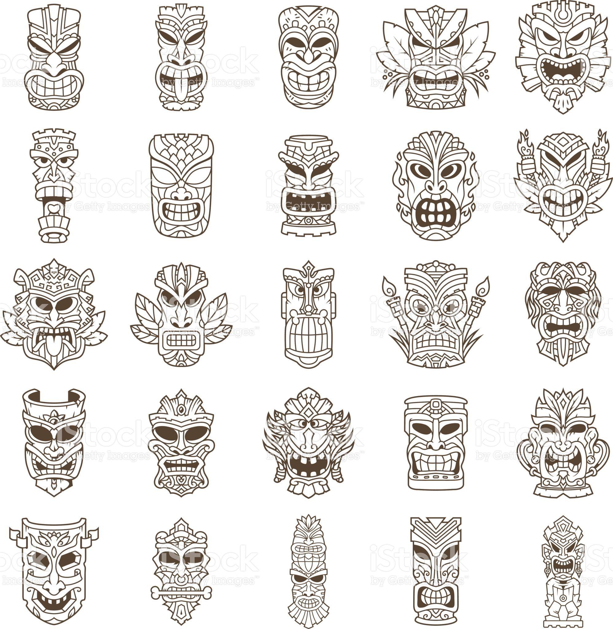 Tiki Head Line Art Set Tiki head, Tiki art, Tiki tattoo