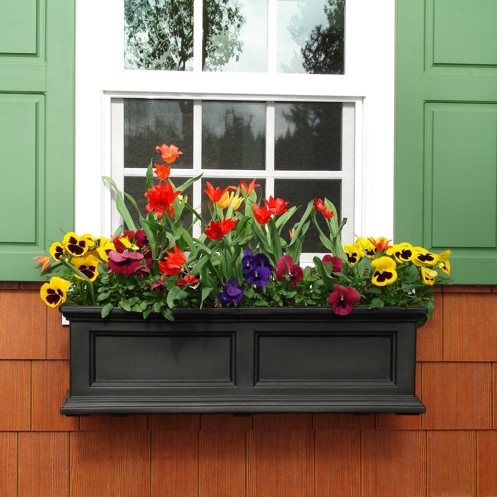 Mayne Fairfield 4 Window Box In Black Made In The Usa Www Gomayne Com Window Box Flowers Window Box Plants Window Planters