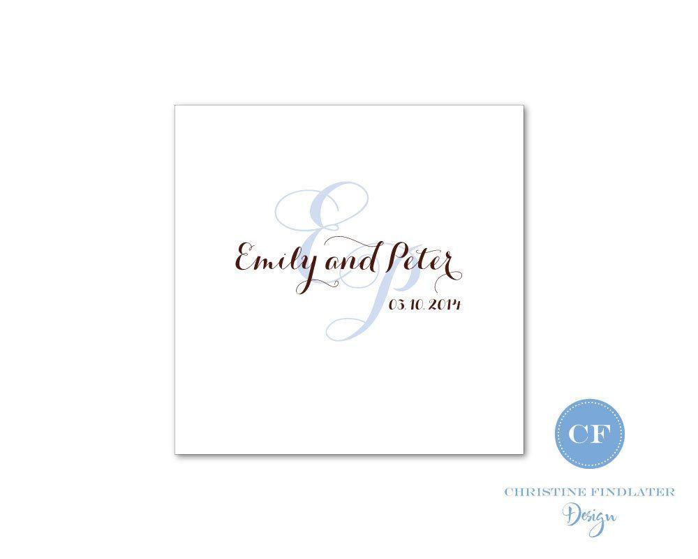 Custom digital wedding monogram logo personalized any color for ...