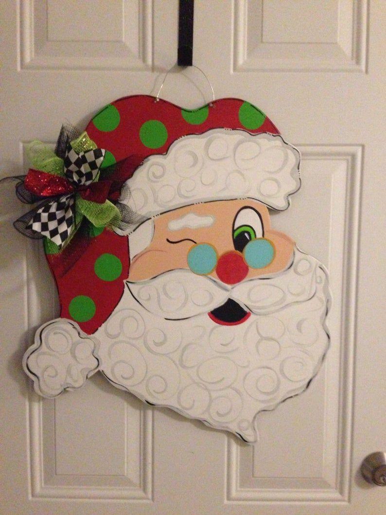Santa Door Hanger Christmas Door Hanger Christmas Door Etsy In 2020 Christmas Door Hanger Christmas Door Hangings Door Decorations