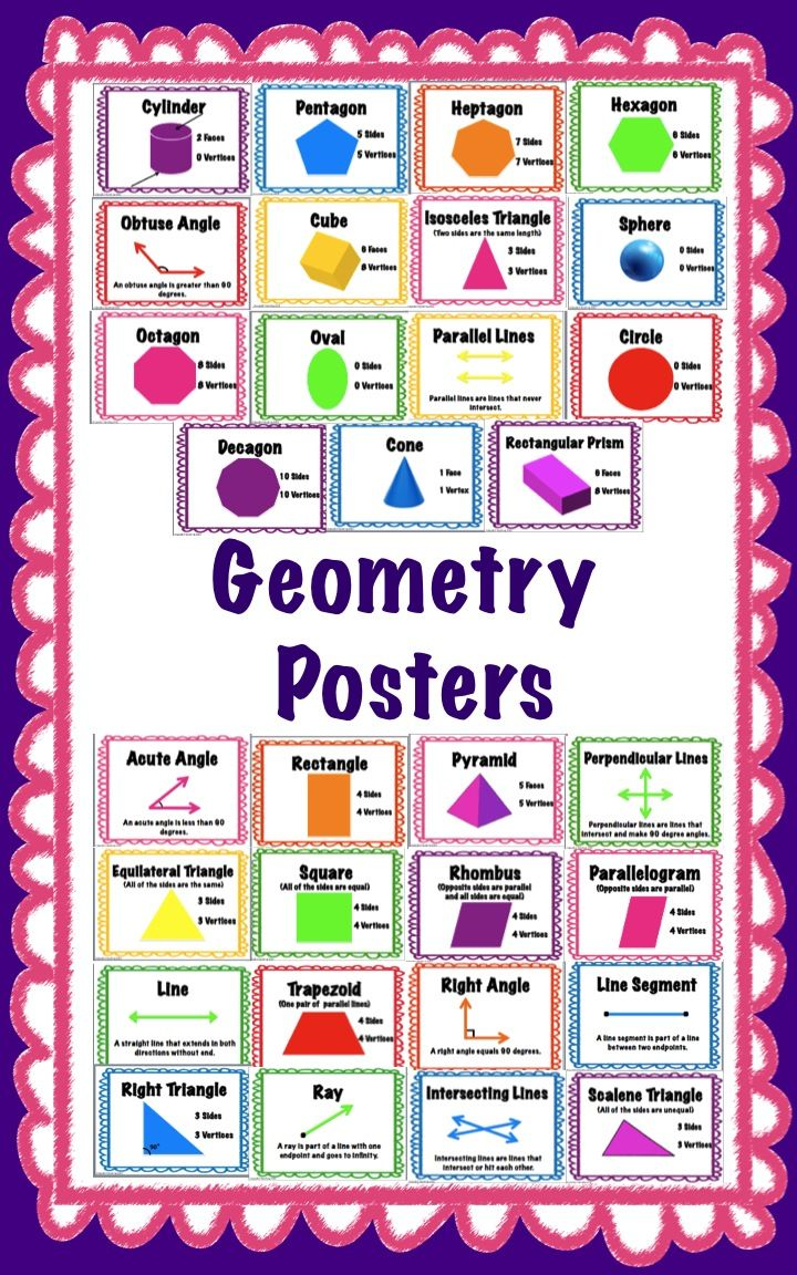 geometry posters for grades pre k to 6th grade 3d shapes geometry and math. Black Bedroom Furniture Sets. Home Design Ideas