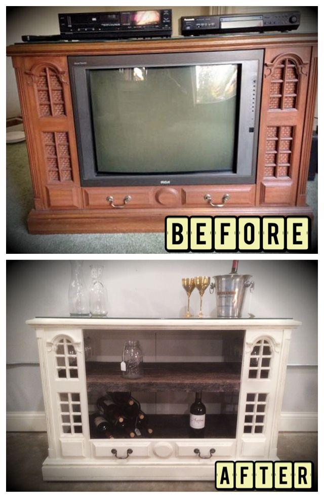 Old TV counsel Mini Bar Barnwood top and shelves wine minibar
