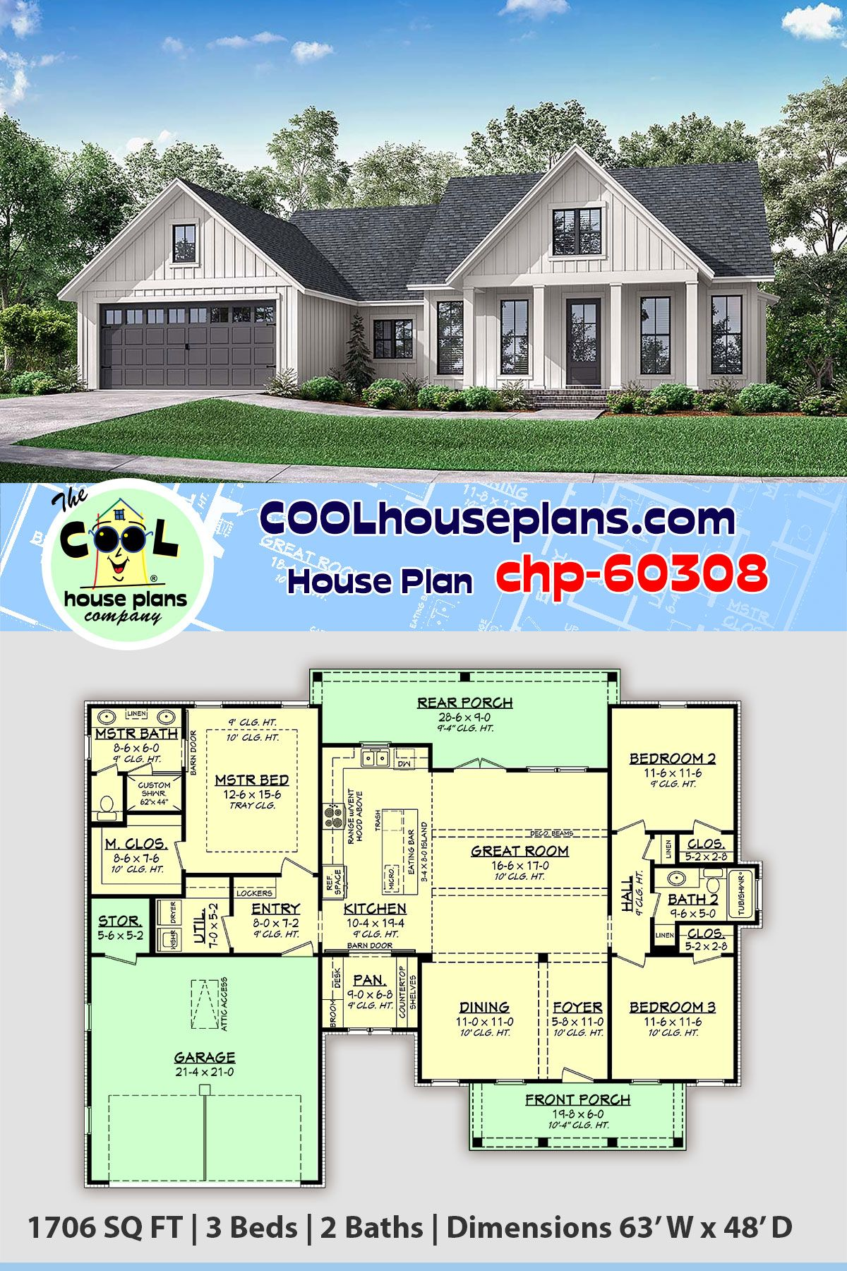 Traditional Style House Plan 56715 With 3 Bed 2 Bath 2 Car Garage In 2020 Craftsman House Plans Country House Plans House Plans Farmhouse