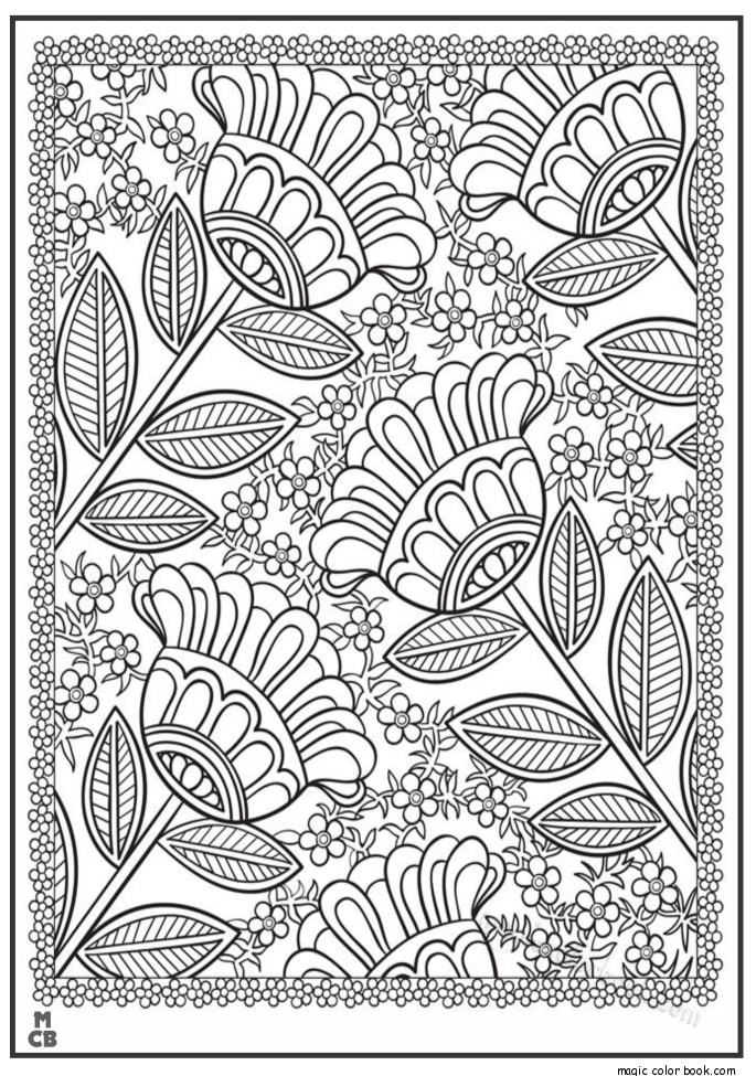 Flowers pattern coloring pages free | adult coloring ...