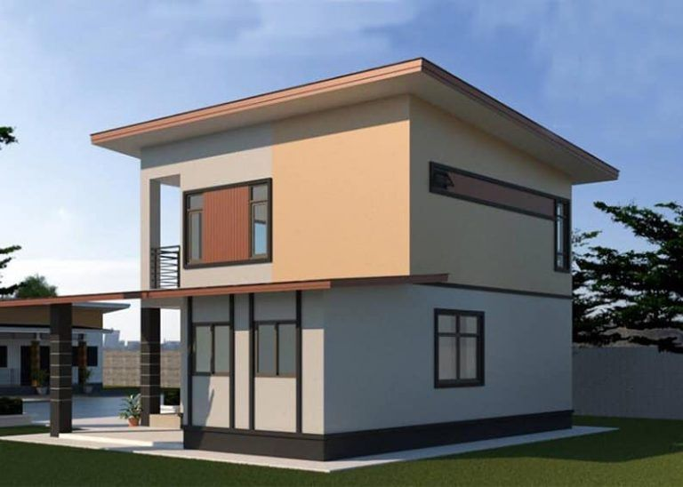 Affordable double-storey house design with three bedrooms ...