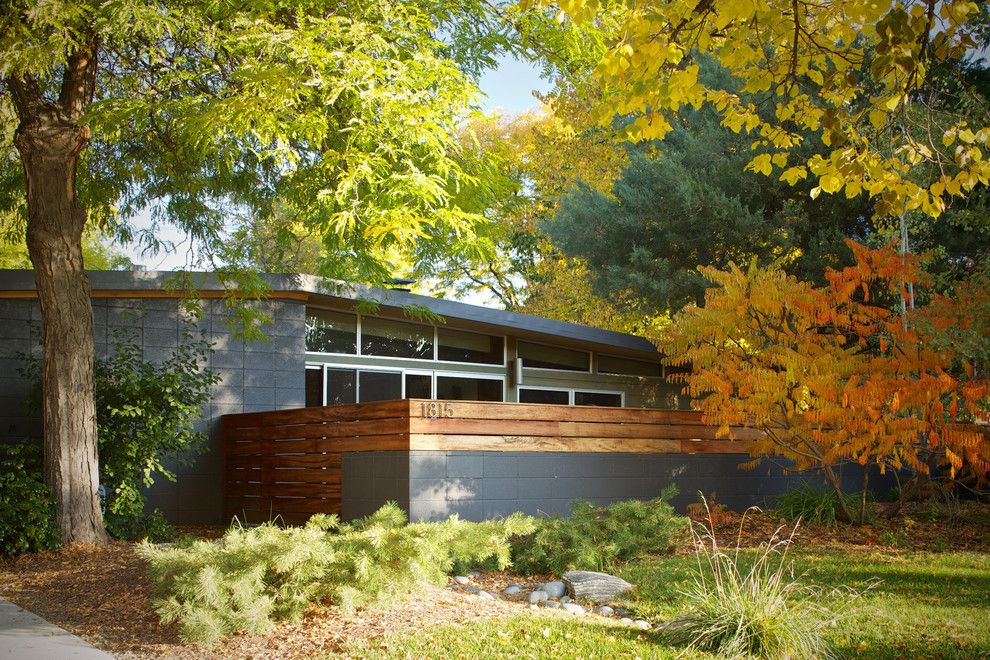 Mid Century Modern Grey Exterior Home Quail Hollow Road