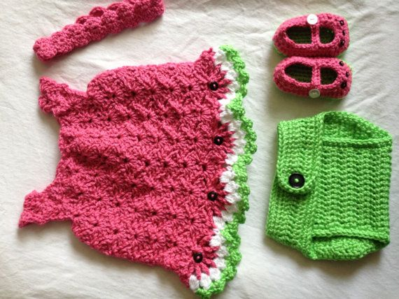 Free Crochet Watermelon Dress Pattern : Crocheted Watermelon Dress set 03 months by ...