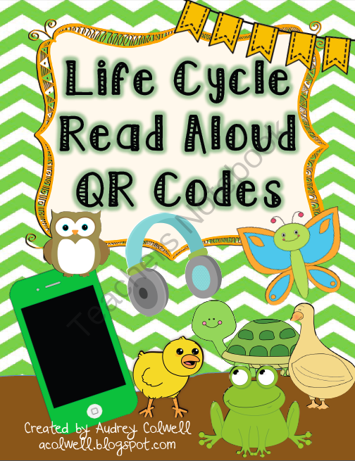 Life Cycle QR Codes from Mrs. A. Colwell's Creations on TeachersNotebook.com -  (6 pages)  - 18 QR codes linked to different books about common animal life cycles.