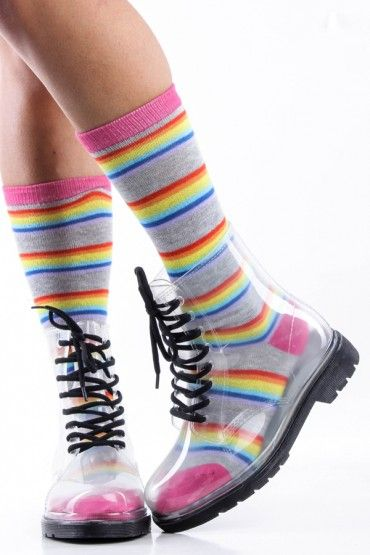8fd9f815ca2 OMGGGG  3 CLEAR BLACK TRANSPARENT LACE UP JELLY COMBAT RAIN BOOTS ...