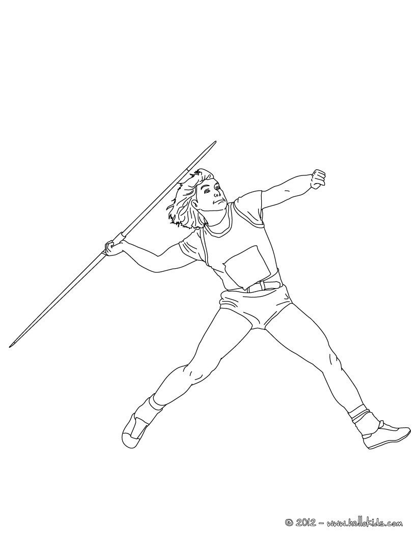 Javelin Throw athletics coloring page. More sports coloring pages on ...