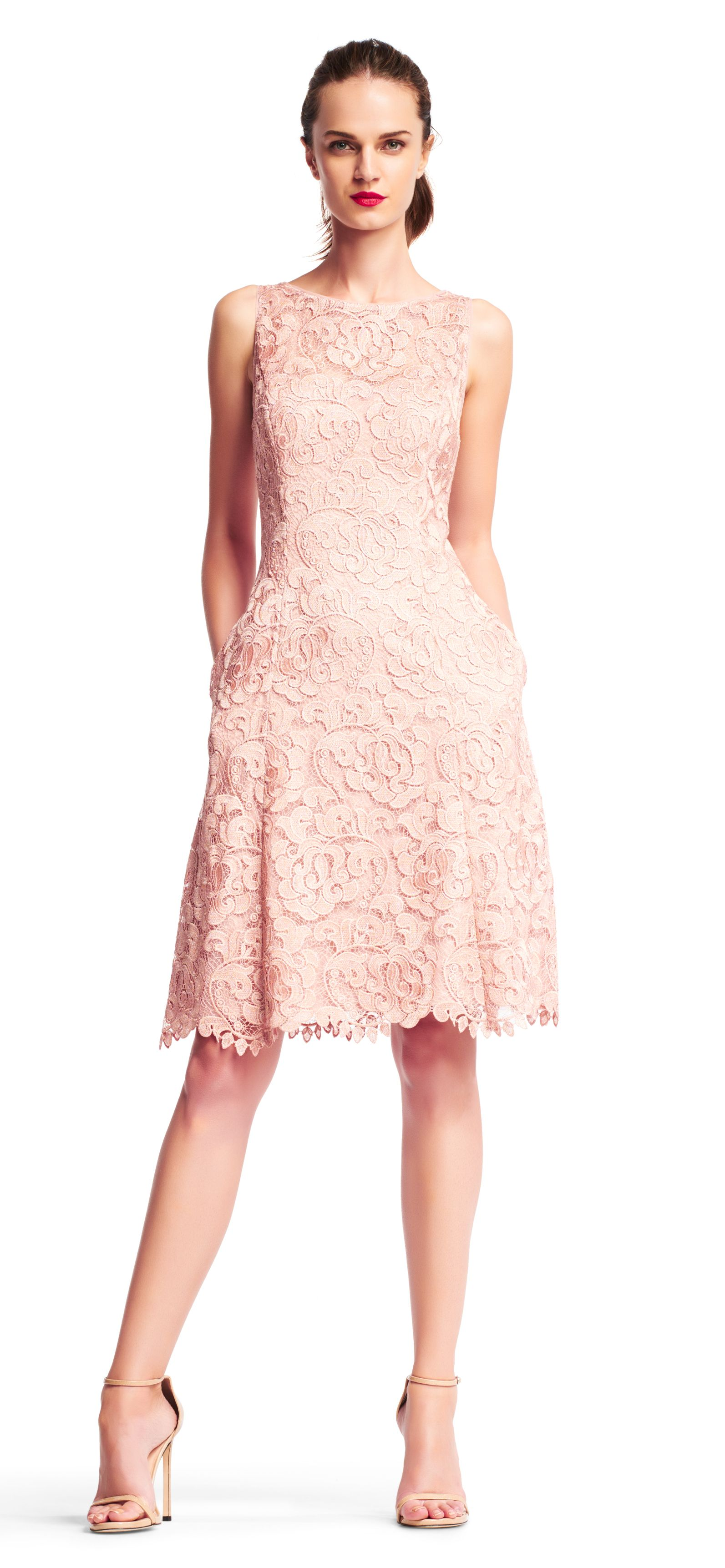 Adrianna Papell | Sleeveless metallic lace cocktail dress with ...