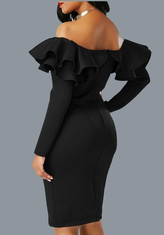 87598bc8a8 Black Zipper Cascading Double Ruffle Off Shoulder Backless Long Sleeve  Party Midi Dress