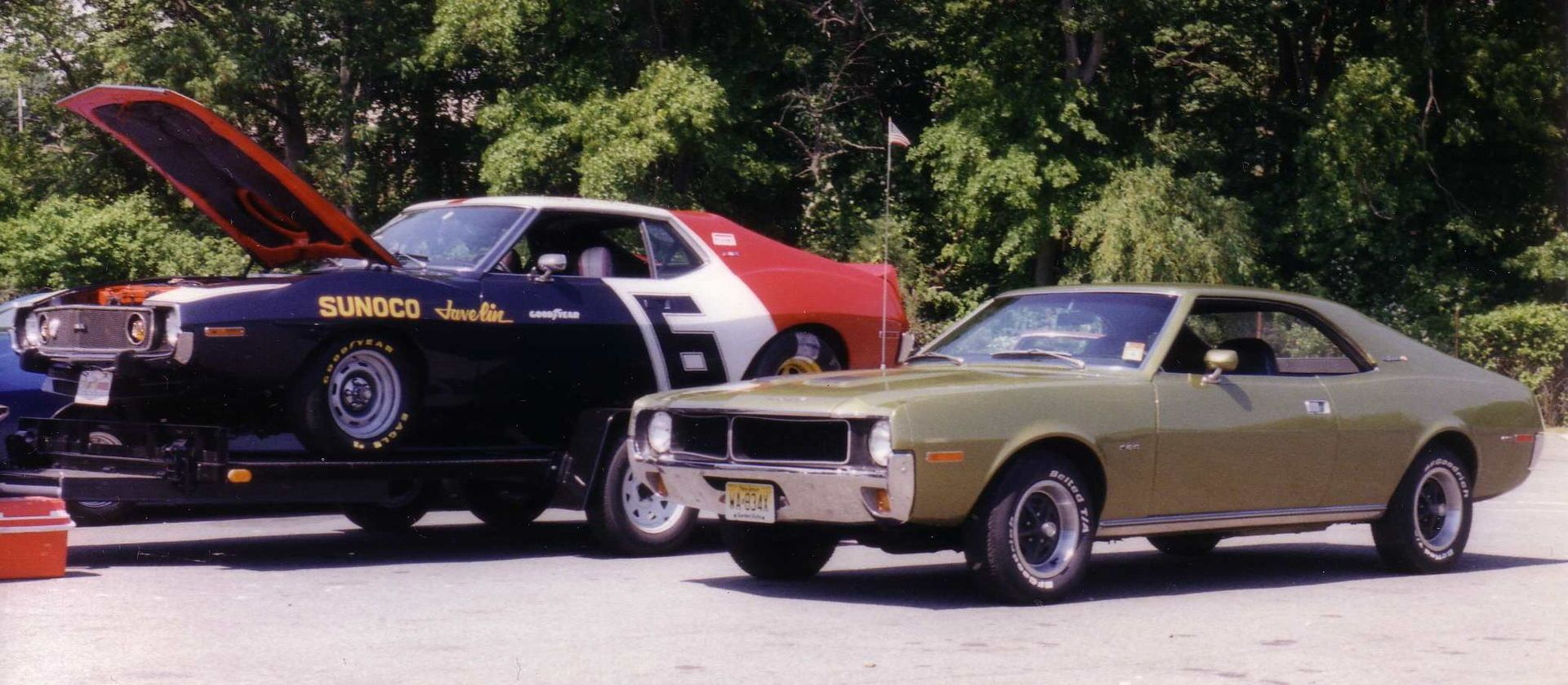 Sunoco racing AMC Javelin on an open car hauling trailer and a 1970 ...