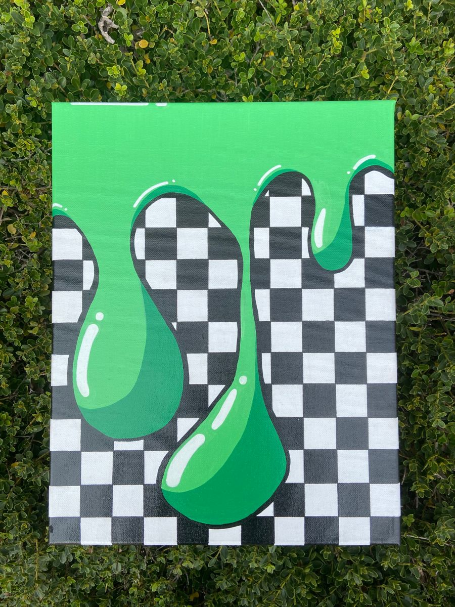 Slime Painting : slime, painting, Painting,, Slime, Checkerboard, Decor,, Custom, Gift,, Decor, Canvas, Hippie, Painting