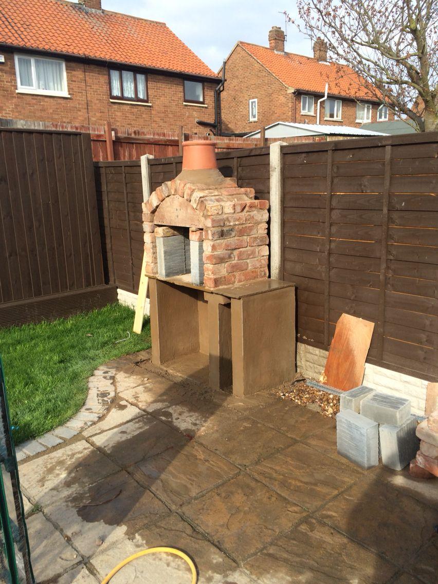 block work rendered using sand and cement mix brick chimnea bbq