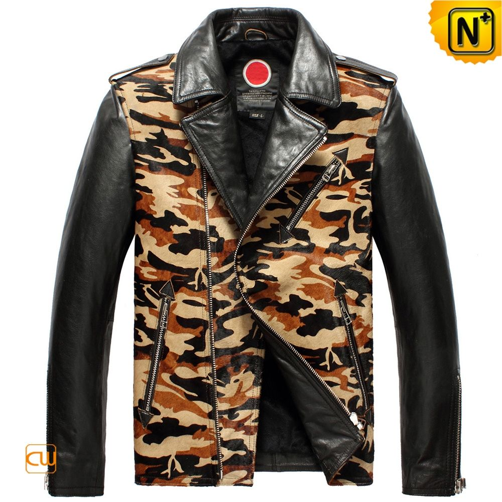 Fashion Leather Camo Motorcycle Jacket for Men CW850337