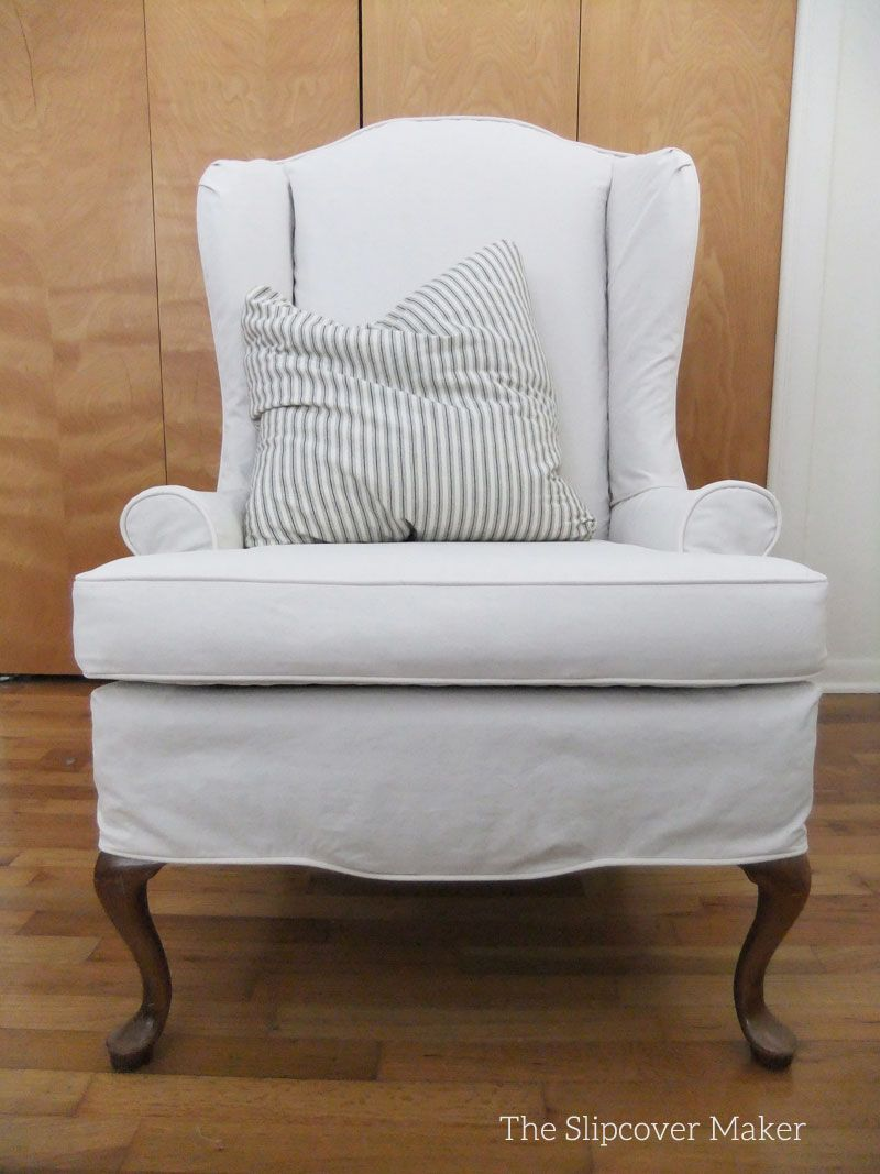 White Slipcover Chair And Ottoman Refurbished Wooden Chairs Custom Canvas For Wingback Mary S Medium Weight Made