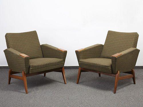 163 299 50s 60s Teak Danish Armchairs Cocktail Chair Pair