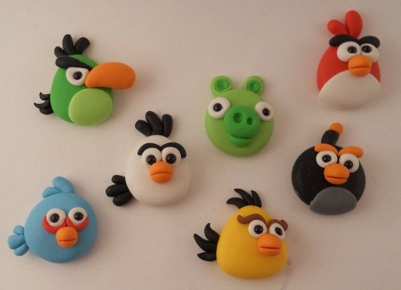 Polymer Clay Beads or Bow Centers - Angry Birds Set