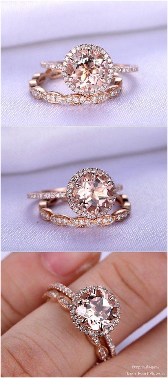 Natural morganite Engagement ring / http://www.deerpearlflowers.com/rose-gold-engagement-rings-from-milegem/
