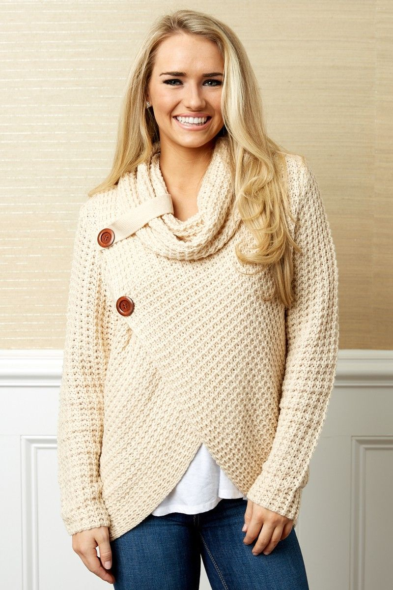Over The Moon Cream Cowl Neck Sweater at reddressboutique.com ...