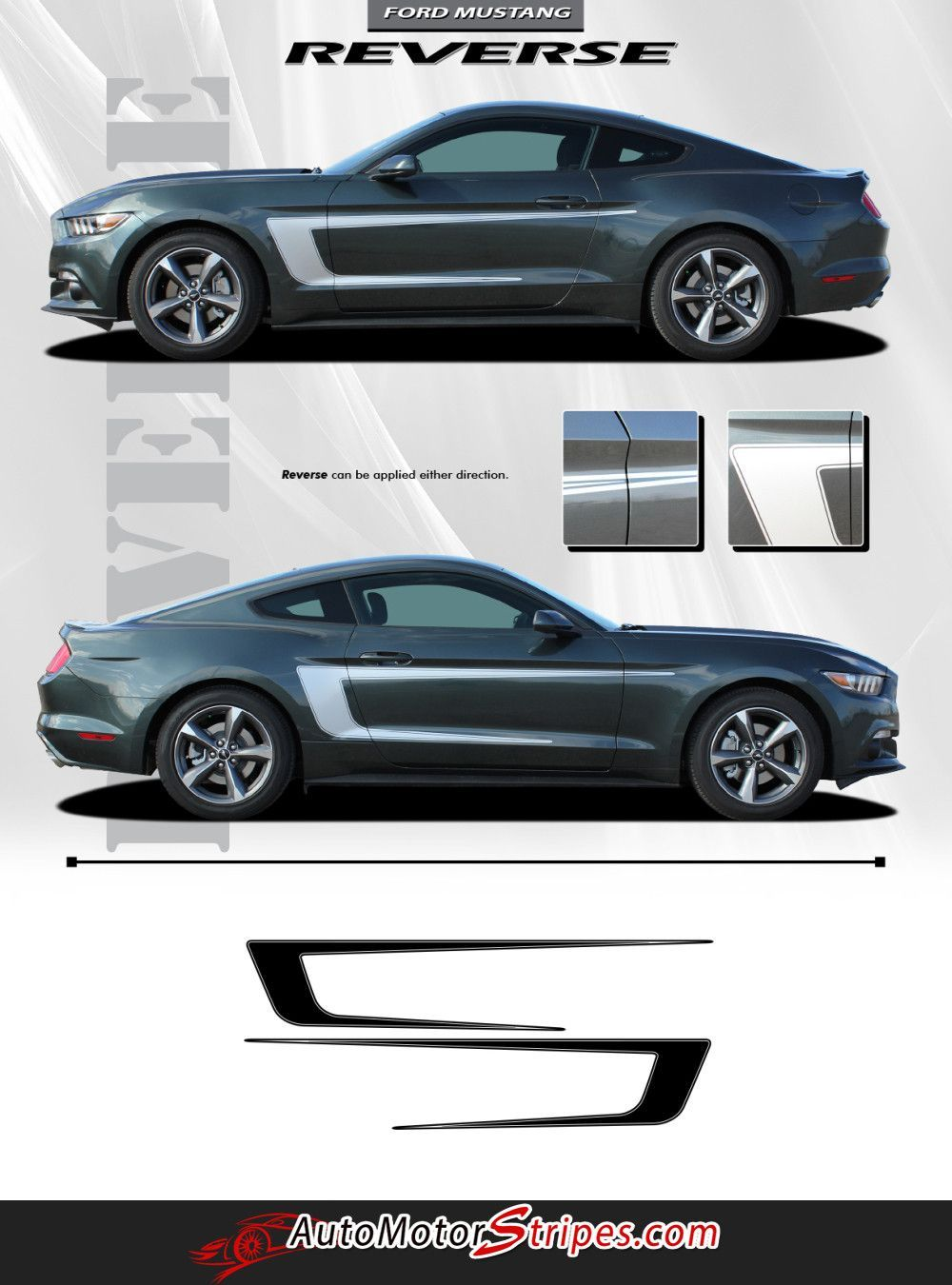 2017 2016 Ford Mustang Reverse C Stripe Boss 302 Style Side Stripes Vinyl Graphics 3m Decals