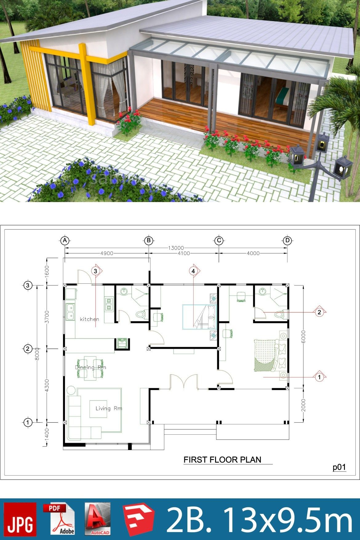 Plan 3d Interior Design House Plans 13x9 5m Full Plan 3beds Samphoas Plansearch House Front Design Small House Design Modern House Plans