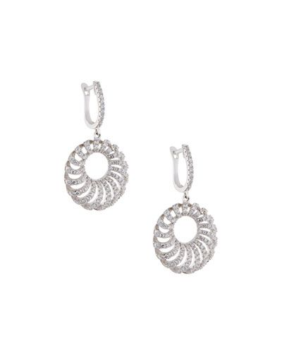 Fantasia Round Puff Pave Crystal Drop Earrings SiK0gr6