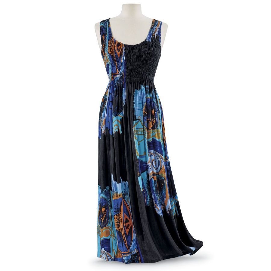 Smocked-Bodice Maxi Dress - Women's Clothing & Symbolic Jewelry – Sexy, Fantasy, Romantic Fashions