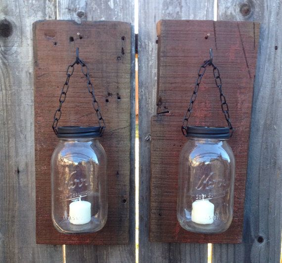 Large Barn wood mason jar candle holders by Thesalvagednail, $45.00