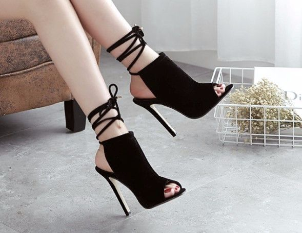 7d97cec681f Stylish black peep toe string ankle heels for the modern fashionista ...