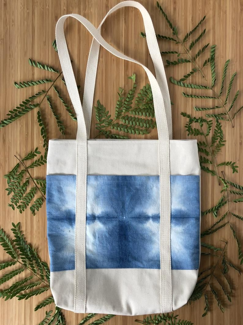 Pocket Tote Bag Canvas Indigo Shibori Hand Dyed Etsy