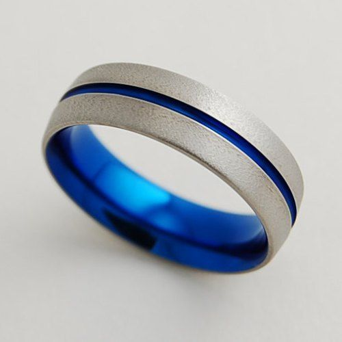 Wedding Bands For Men Nightfall Blue Anium Band