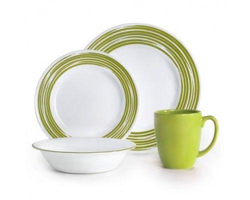 Corelle Brushed - Green #16pc Dinner Set - 4 #dinner #plates