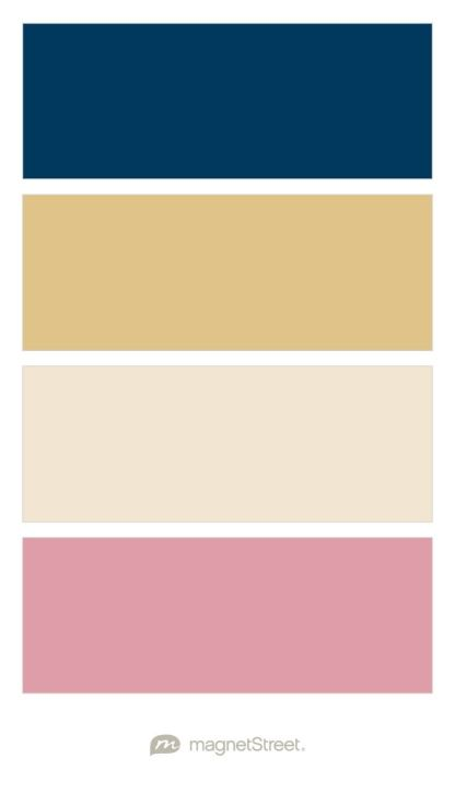 Navy gold champagne and blush wedding color palette for What paint color goes with gold
