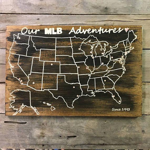 Wood United States Map.Baseball Travel Map Us Wood Map Usa Travel Map Mlb Travel