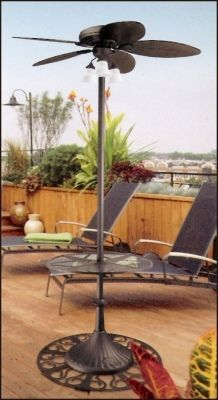 Hunter Outdoor Stand Up Oasis Patio Ceiling Fan With Table And