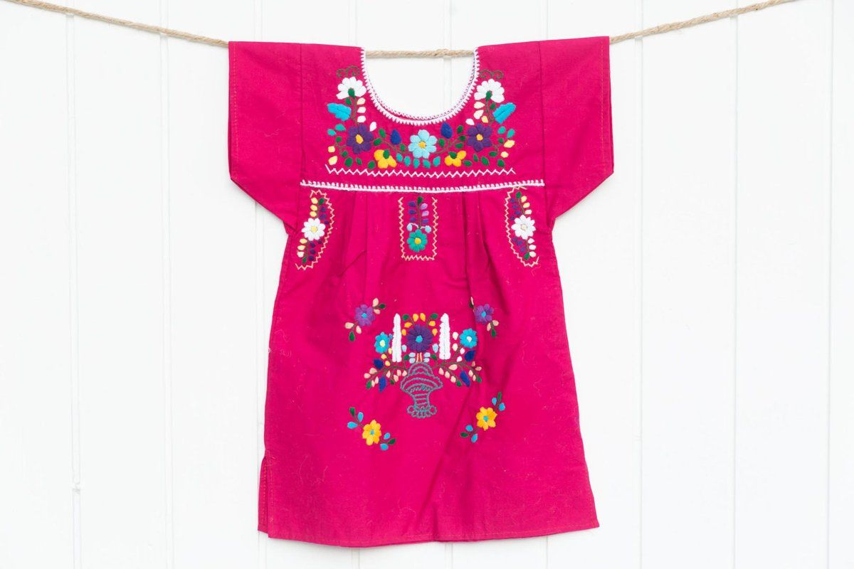 Baby Girl Hand Smocked Dress Embroidered Hot Pink Traditional Romany 100/% Cotton