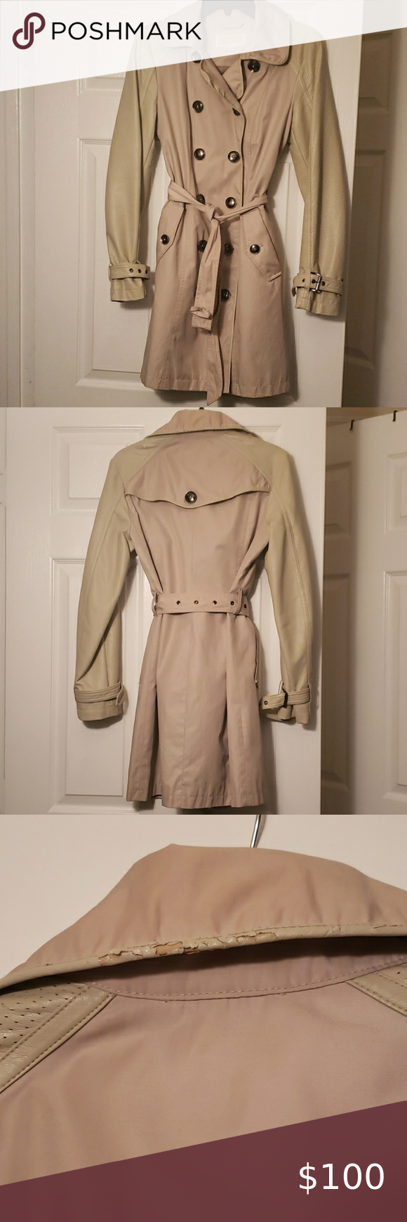 Michael Kors Coat Michael Kors Trench Coat Faux Leather Sleeves Upper Front Back Double Breasted Buckle Missing On Michael Kors Jackets Michael Kors Coat [ 1740 x 580 Pixel ]