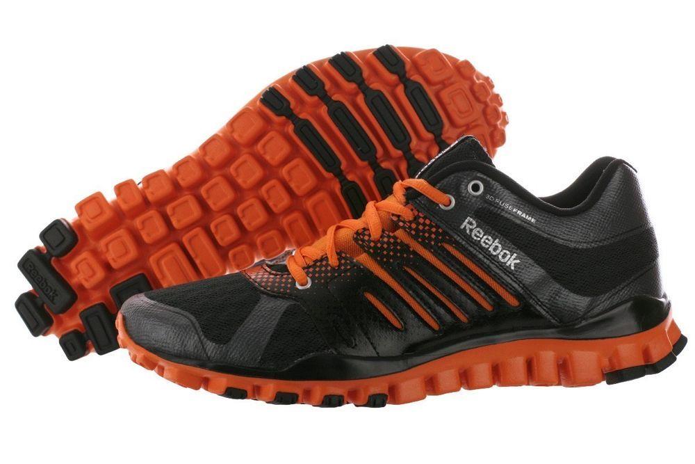 829f8e18afc6ac Reebok Realflex Strength TR Mens Training Running Shoes V46627  Black Orange
