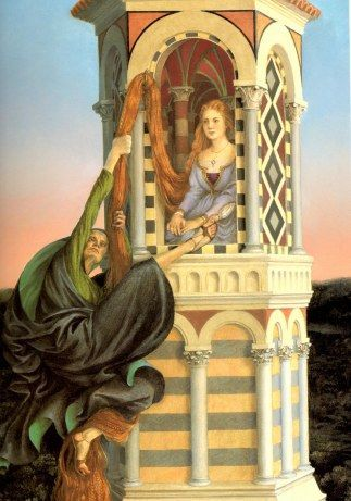 The sorceress climbs the tower by way of Rapunzels famously long hair  Paul O