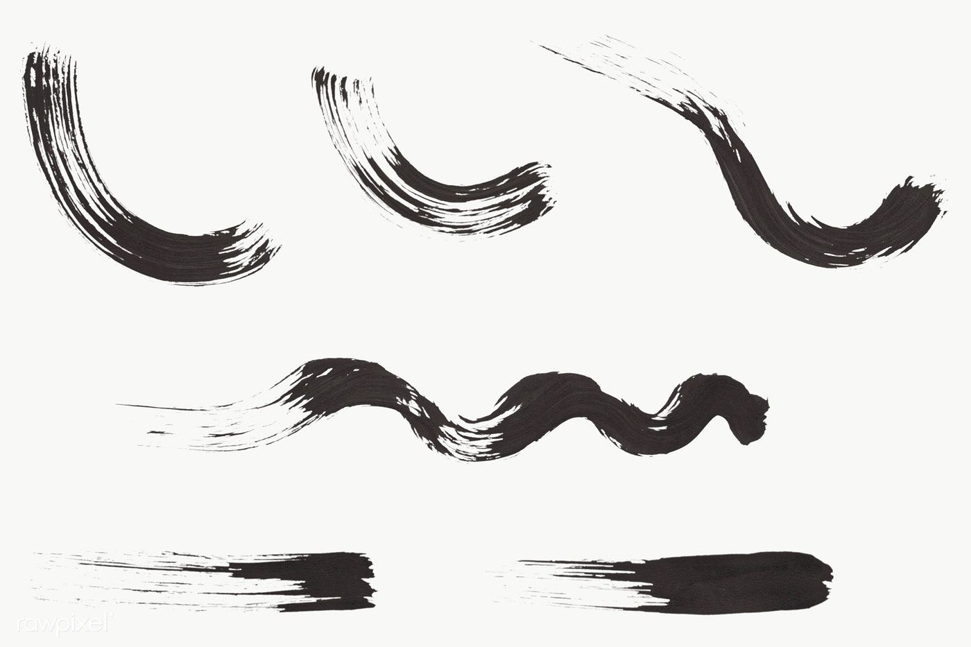 Abstract Black Brush Stroke Set Transparent Png Free Image By Rawpixel Com Brush Strokes Abstract Paint Strokes