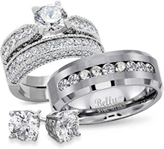Amazon Com Wedding Rings For Him And Her Sets Buy Wedding Rings Stainless Steel Wedding Ring Wedding Ring Sets