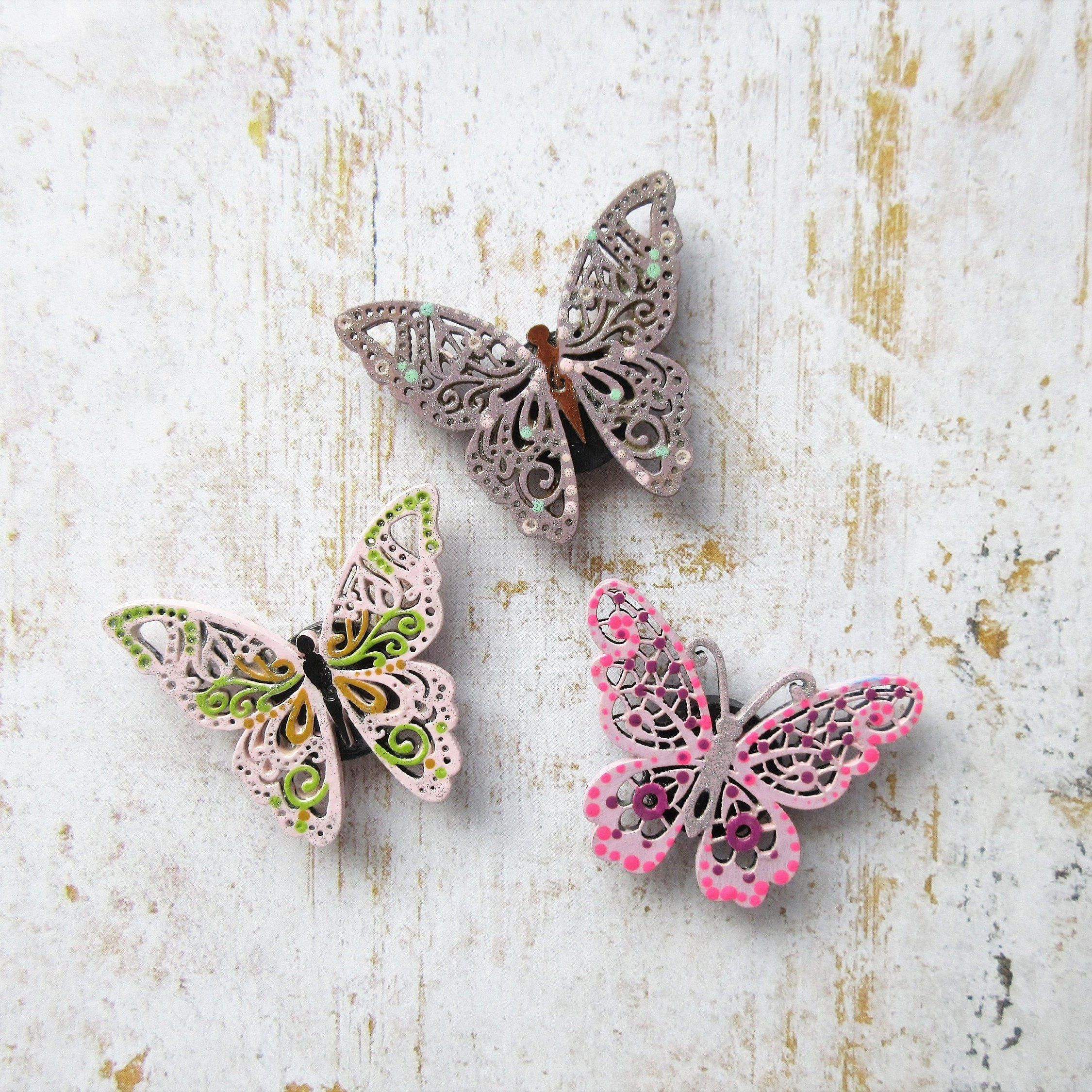 Set Of 3 Handpainted Butterfly Magnets Pink Butterfly Decor Butterfly Art Handpainted Home Decor Kitchen Accessories Office Decor Butterfly Decorations Butterfly Art Pink Butterfly