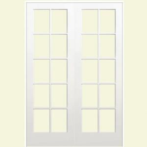 Masonite Smooth 10 Lite Solid Core Primed Pine Double Prehung Interior  French Door 468265